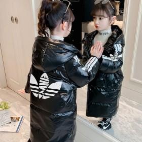 女童2021新款棉衣大童中长款洋气棉袄韩版保暖亮面