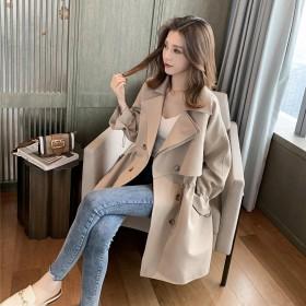 有里布风衣女中长款大衣韩版百搭宽松西装领休闲外套