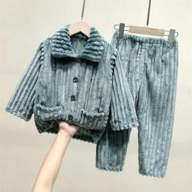 秋冬季法兰绒男童儿童睡衣加厚加绒珊瑚绒冬季套装男孩