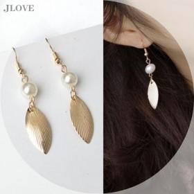 限时特价珍珠金叶长款耳环拍完即止多拍不发