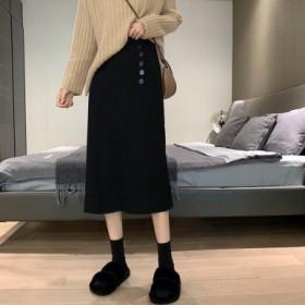 针织半身裙秋冬女韩版一步裙百搭高腰显瘦中长款裙子
