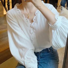 打底衫女小众设计感长袖V领衬衫小衫女装针织上衣潮