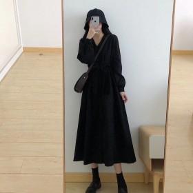 黑色灯芯绒连衣裙复古长袖长款过膝气质V领赫本风裙子