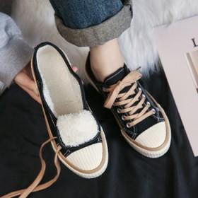 冬季加绒帆布鞋女大童加厚棉鞋学生保暖运动休闲板鞋