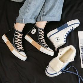 加绒高帮帆布鞋女冬季保暖二棉板鞋学生休闲大童棉鞋