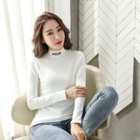 半高领打底衫女2020秋装新款韩版字母刺绣长袖T恤