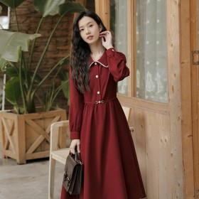 女法式赫本风气质收腰显瘦中长款长袖衬衫连衣裙