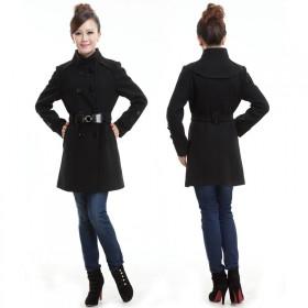 50%羊毛洋气小香风上衣 矮小个子双排扣呢子大衣外