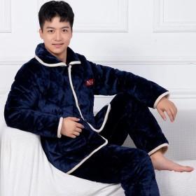 秋冬季男士睡衣三层超厚法兰绒夹棉加厚中老年爸爸款家