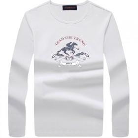 奢华品牌保罗秋冬季新款男装长袖t恤印花打底衫潮