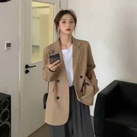 黑色西装外套女春秋2021新款韩版气质设计感小个子