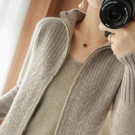 拉链毛衣外套女针织开衫短款半高领宽松春秋春款上衣