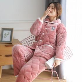 睡衣女冬季三层加厚法兰绒可爱可外穿大码保暖中老年人