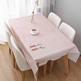 居家日式简约风格四色格子防水防油免洗PVC茶几餐桌