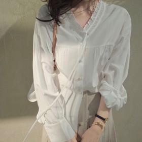 白色衬衫韩版宽松小众设计感气质百搭长袖V领衬衣