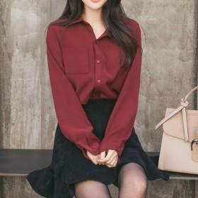 雪纺衬衫女长袖韩版百搭宽松显瘦上衣衬衣打底衫