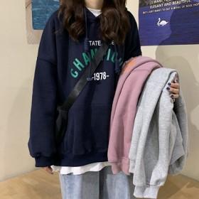 连帽卫衣女2021秋季新款韩版字母学生大码宽松上衣