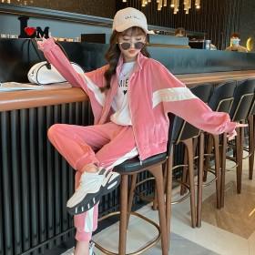 女童金丝绒套装2021新款中大童时髦洋气学生12岁