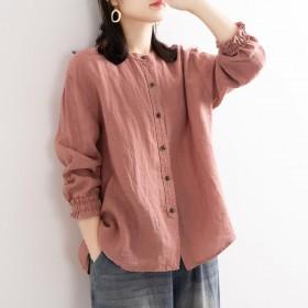 文艺复古女宽松圆领衬衣外套休闲外套收口袖棉麻衬衫