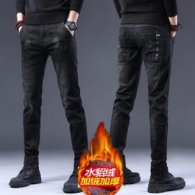 加绒加厚牛仔裤男士冬季弹力韩版紧身小脚裤直筒裤子