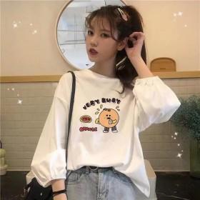 女装2021新品秋季韩版宽松薄款套头学生显瘦卫衣灯