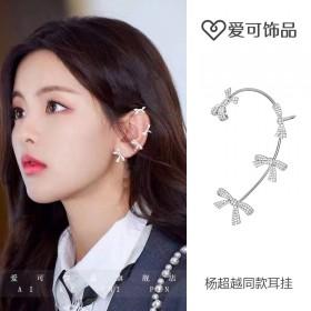 杨超越同款耳环四个蝴蝶结耳挂女高级感精灵耳饰