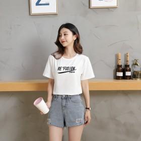 180克双磨牛奶丝白色短袖女夏季韩版印花圆领女装