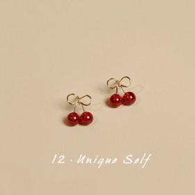 樱桃耳钉 水果复古耳环港风设计红色法式首饰