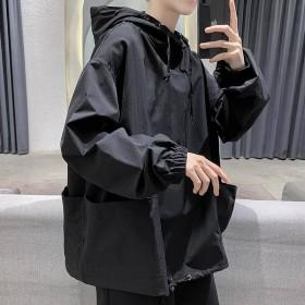 暗黑系男士纯色薄款韩版宽松上衣男连帽机能外套