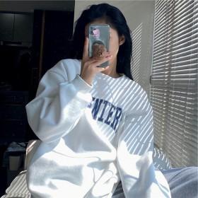 2021甜美印花螺纹新款韩版套头圆领卫衣女宽松bf