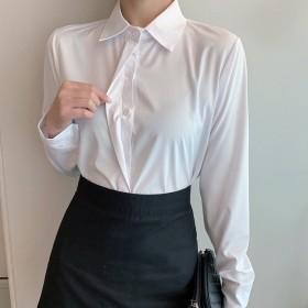职业白衬衫女长袖女士工作服白色衬衣雪纺衫正装上衣
