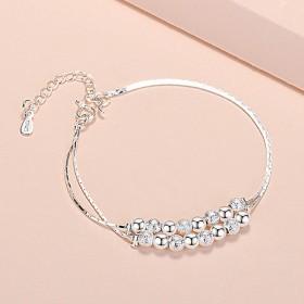 s999银手链花卉日韩女式学生礼物银饰双层珠子情侣