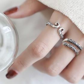 开口指环水果麻花银饰纯银简约个性原创设计戒指复古尾