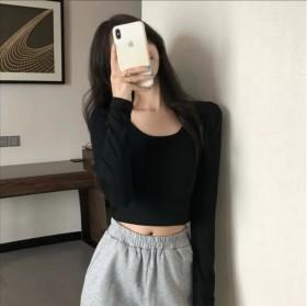 短款纯色T恤女春秋2021新款韩版修身长袖秋季小衫