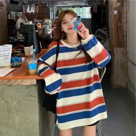 条纹T恤女韩版宽松2021新款春秋季中长款长袖上衣