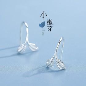 耳钉耳钩银饰纯银树叶简约耳饰
