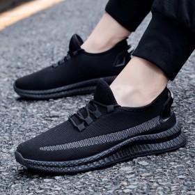 男士鞋子夏季休闲鞋子男潮流跑步运动鞋男鞋飞织透气网