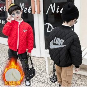 加绒棉服男童冬季2021新款夹克洋气轻薄红色黑色外