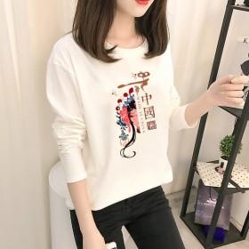 2021秋装新款时尚长袖T恤女装国风复古印花t恤白