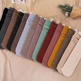 春夏秋季糖果色中筒袜韩版女长筒袜纯色中筒精梳彩