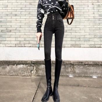 弹力修身显瘦高腰小脚牛仔裤女