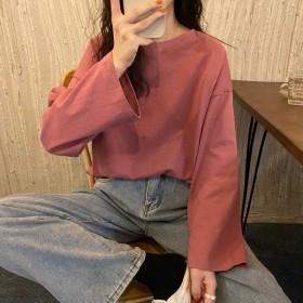 2021秋季新款长袖t恤女基本款宽松甜美纯色减龄上