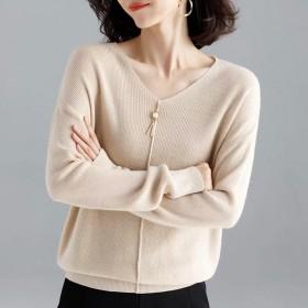 V领毛衣女士针织衫