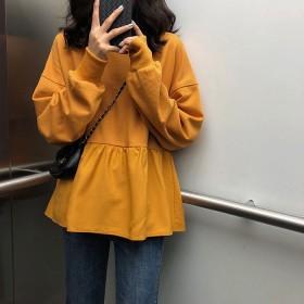 2021秋季新款韩版女装宽松显瘦学生休闲上衣纯色长