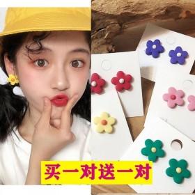 泫雅风彩色花朵耳环~韩国气质太阳花耳饰少女心可爱甜