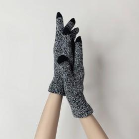 新款针织毛线手套男女秋冬触屏简约纯色保暖加绒学生