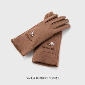 秋天手套女士薄款春秋季弹力韩版可爱骑车保暖冬季触屏