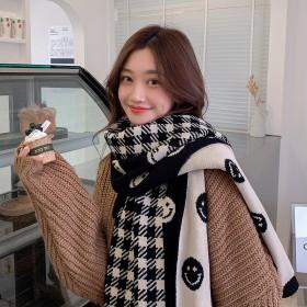 新款笑脸围巾女秋冬格子围脖韩版毛线针织冬季保暖学生