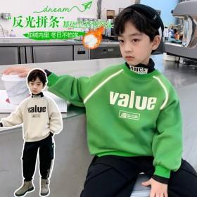 男童加绒卫衣2021新款一体绒高领加厚保暖洋气绿色