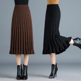 针织百褶裙中长款冬裙长裙毛线裙子高腰A字半身裙